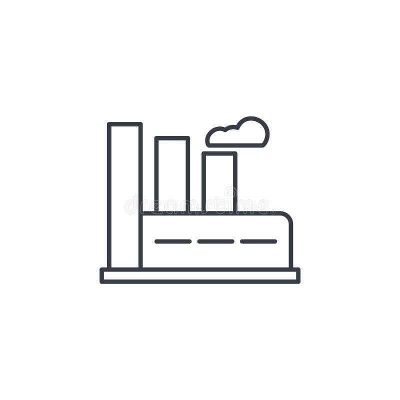 Fabricación, fábrica industrial que construye la línea fina icono Símbolo linear del vector stock de ilustración