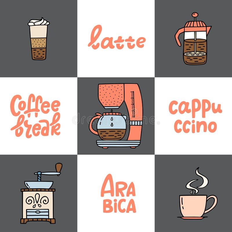 Fabricant de café tiré par la main, machine de coffe, presse américaine, broyeur illustration libre de droits
