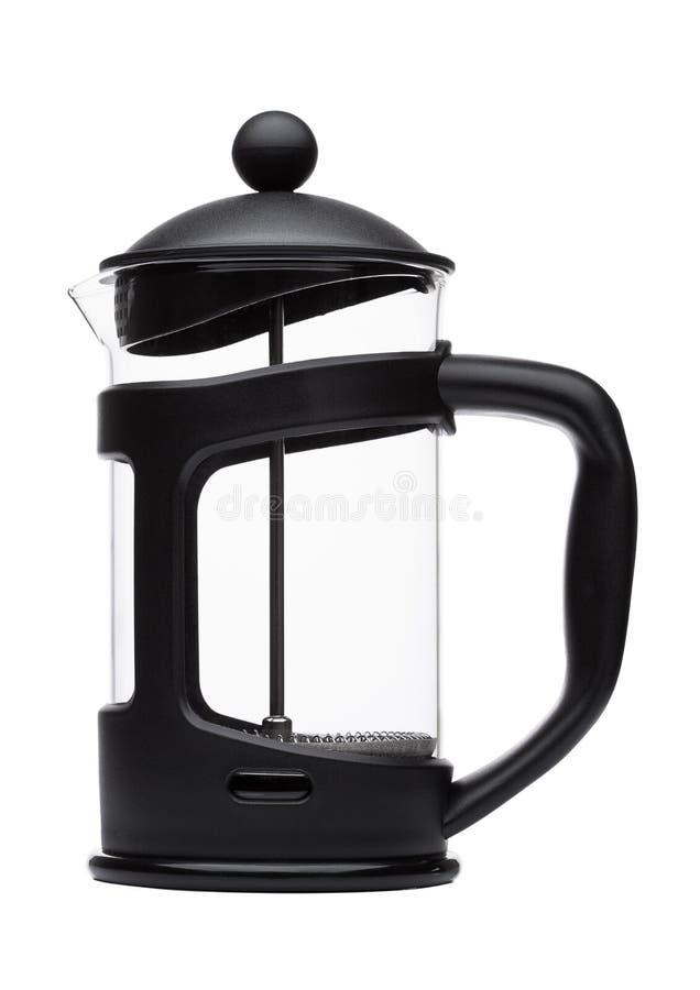 Fabricant de café vide de pot de presse de Français d'isolement image libre de droits