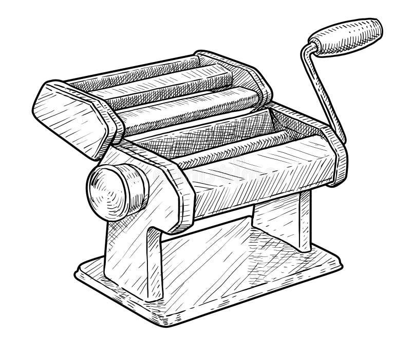 Fabricant de pâtes, illustration de machine de coupeur, dessin, gravure, encre, schéma, vecteur illustration libre de droits