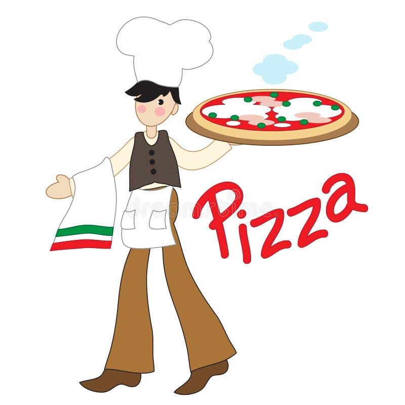 Fabricant italien de pizza avec la grande pizza illustration libre de droits