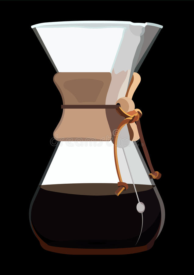 Fabricante de café com café ilustração stock