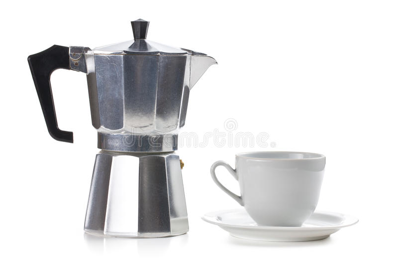 Fabricante de café con la taza de cerámica imagen de archivo libre de regalías