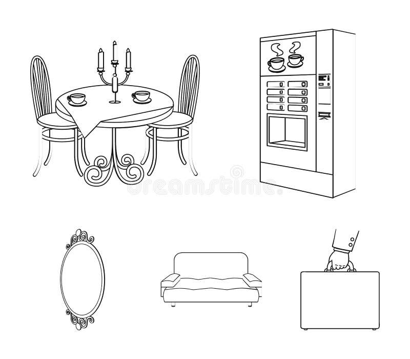 Fabricante de café, tabela servida no restaurante e o outro ícone da Web no estilo do esboço isométrico Sofá confortável macio, p ilustração royalty free