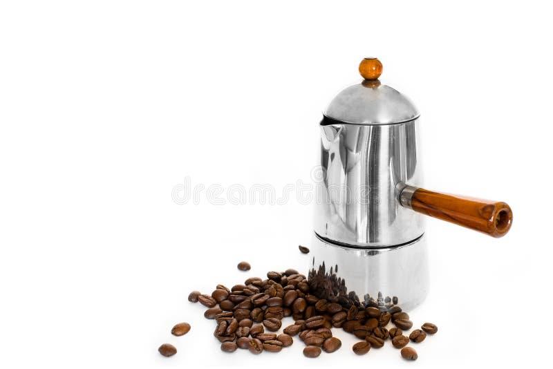 Fabricante de café y granos de café italianos imágenes de archivo libres de regalías