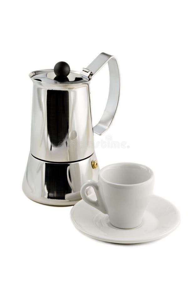 Fabricante de Mocca y taza de café aislada fotos de archivo
