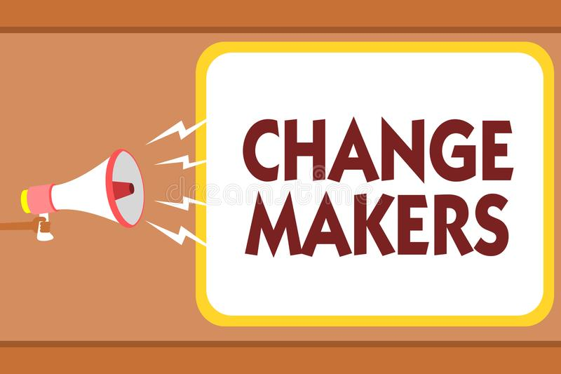 Fabricants de changement d'apparence de note d'écriture Photo d'affaires présentant jeune HOL de GEN X Man de Turk Influencers Ac illustration stock