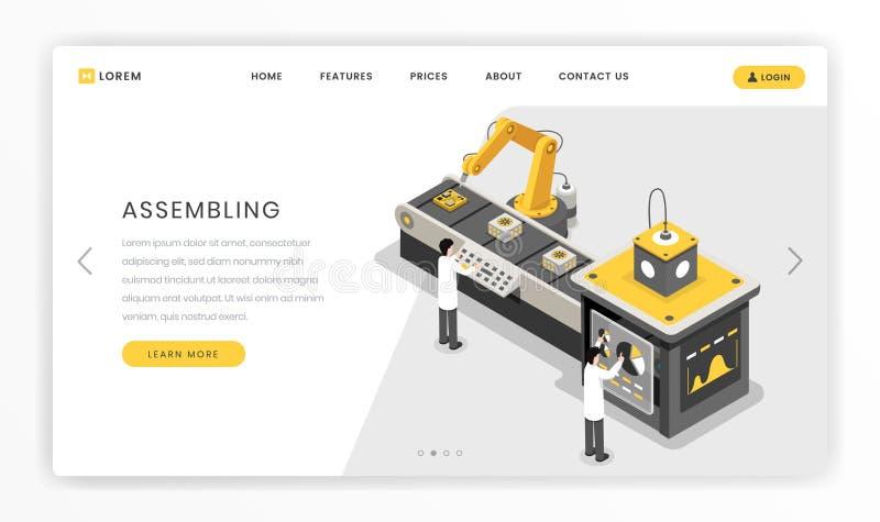 Fabrication, construisant le calibre de débarquement de page de processus Ingénieurs de matériel surveillant le vecteur autonome  illustration libre de droits