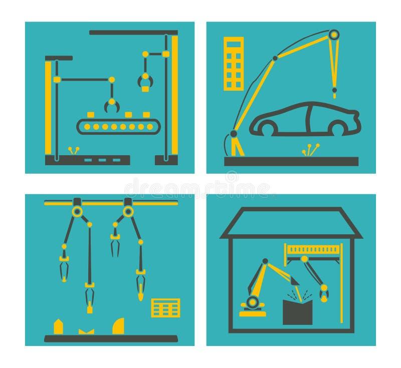 Fabrication de convoyeur avec des bras de robot Mains de robots empaquetant et assemblée électronique illustration de vecteur