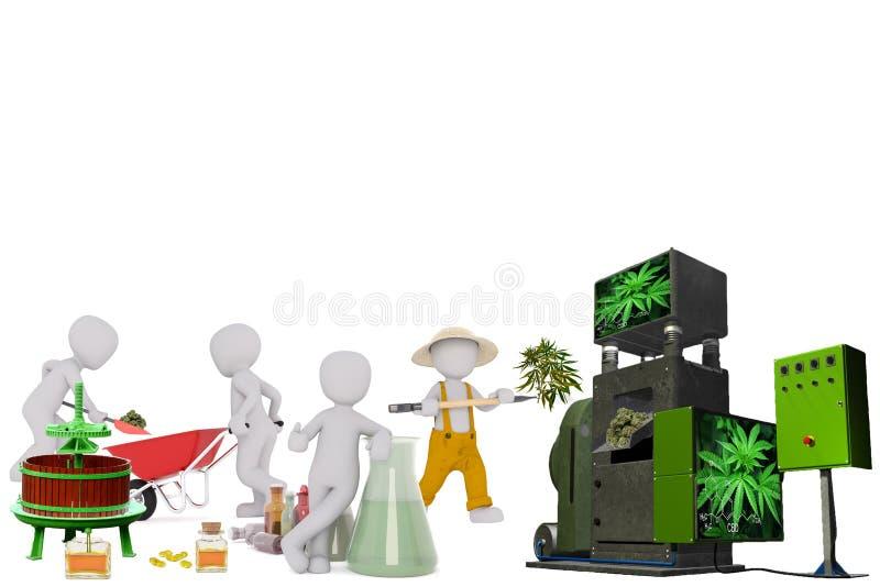 Fabrication de l'huile 3D de CBD illustration libre de droits