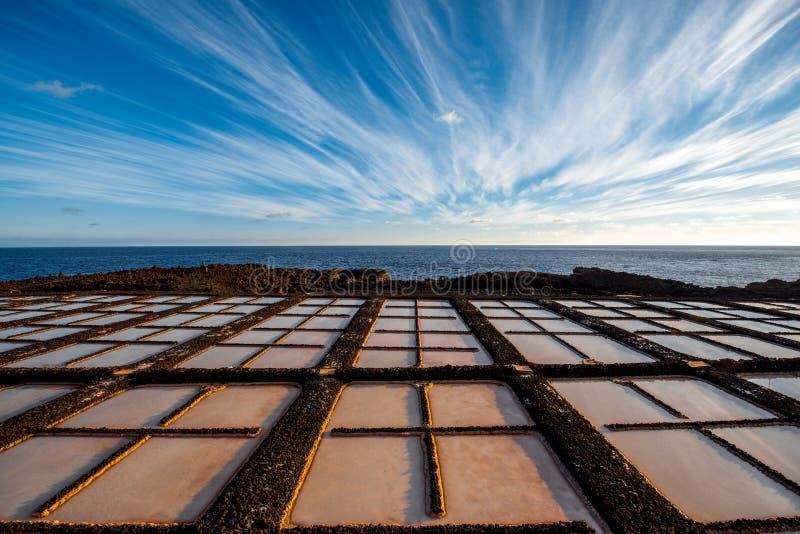 Fabrication de sel sur l'île de Palma de La photographie stock libre de droits
