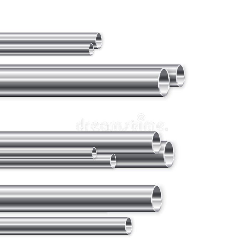 Fabrication de tuyau en métal Groupe de nouveaux tubes de fer Illustration de vecteur illustration stock