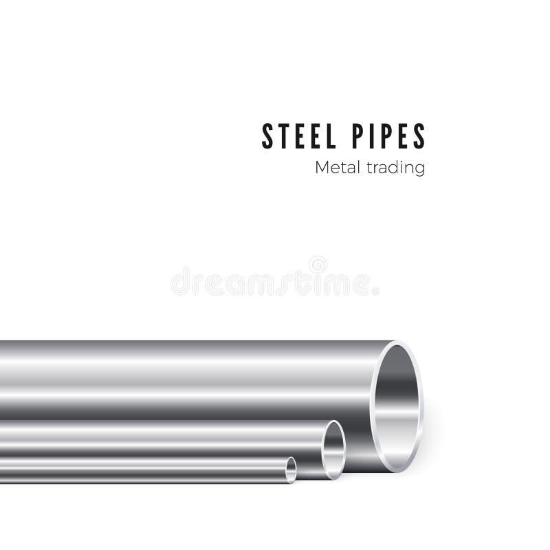 Fabrication de tuyau en métal Groupe de nouveaux tubes de fer Tuyauterie de la production Illustration de vecteur d'isolement sur illustration stock