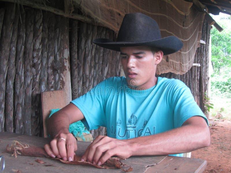 Fabrication des cigares cubains images stock