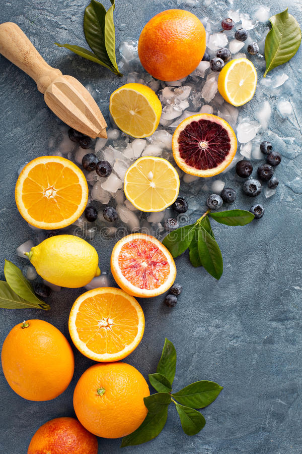 Fabrication des smoothies et des boissons d'agrume photographie stock libre de droits
