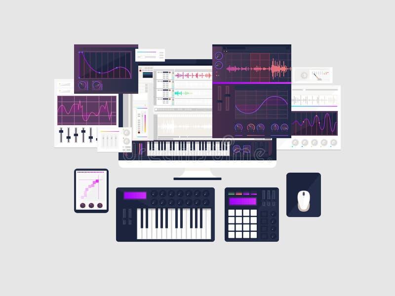 Fabrication du concept d'espace de travail de musique dans la conception plate photographie stock