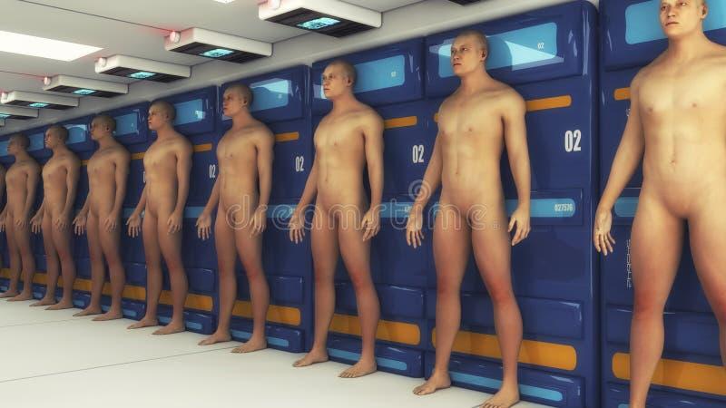 Fabrication humaine de clone et pièce futuriste illustration de vecteur