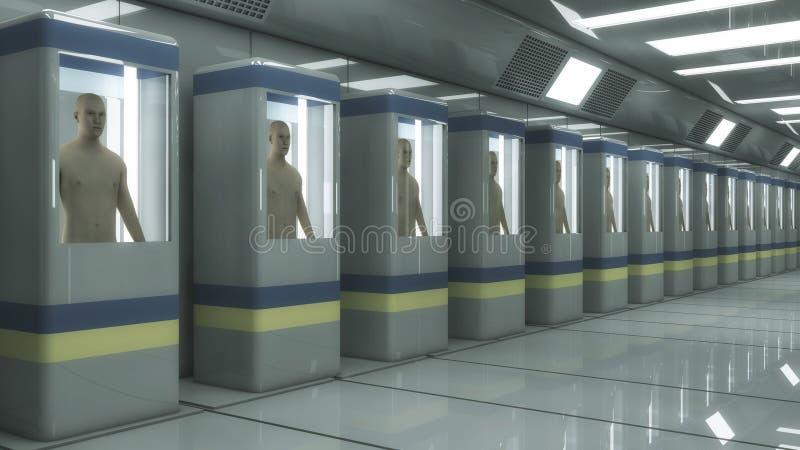Fabrication humaine de clone et pièce futuriste illustration libre de droits