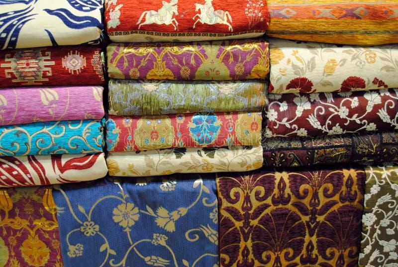 Fabrics at Grand Bazaar. Colourful fabrics at the Grand Bazaar in Istanbul, Turkey stock image