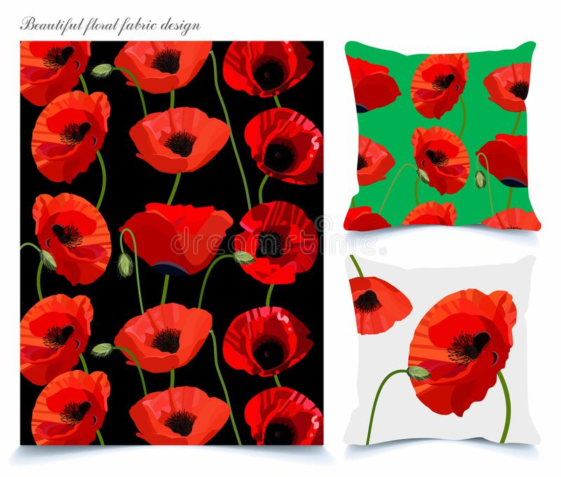 Fabrics and wallpaper backgrounds with beautiful poppy floral pattern royalty free stock photo