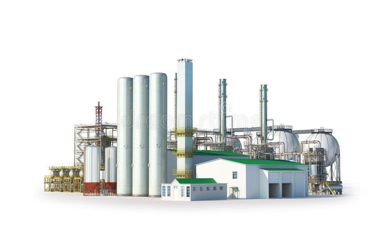 Fabriek buiten op witte achtergrond royalty-vrije illustratie