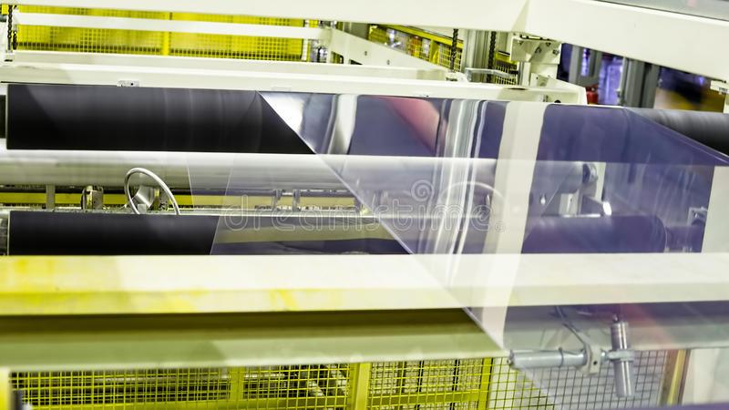 Fabriek de binnenkant De industriële bouw binnenland Installatie voor de productie van plastic film royalty-vrije stock fotografie