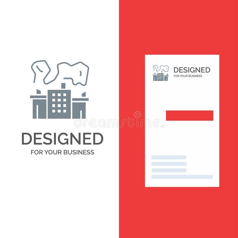 Fabriek, de Industrie, Kern, Macht Grey Logo Design en Visitekaartjemalplaatje stock illustratie