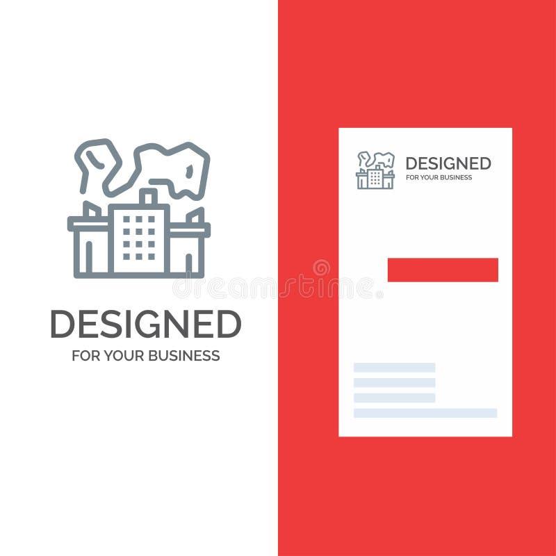 Fabriek, de Industrie, Kern, Macht Grey Logo Design en Visitekaartjemalplaatje vector illustratie