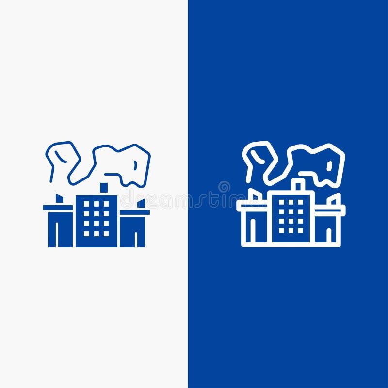 Fabriek, de Industrie, Kern, Machtslijn en Lijn van de het pictogram Blauwe banner van Glyph de Stevige en Stevige het pictogram  stock illustratie