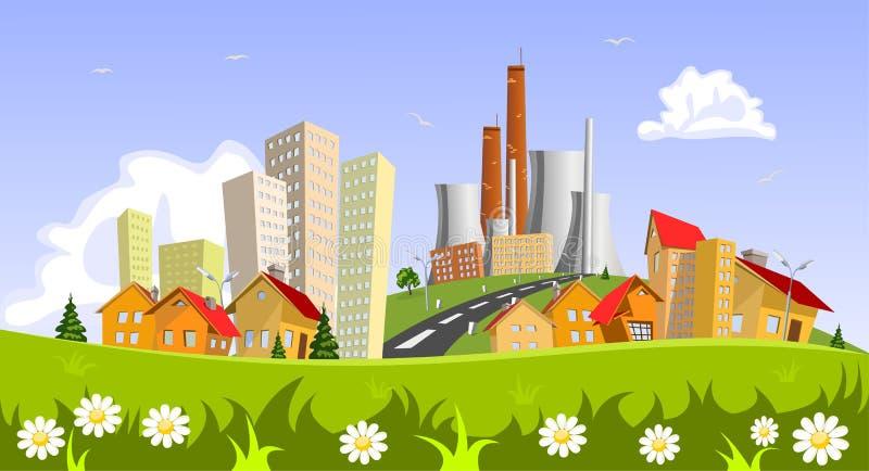 Fabriek in de stad stock illustratie
