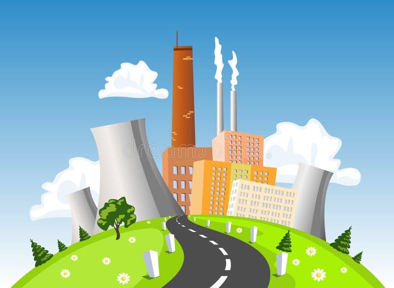 Fabriek, elektro producerende installatie, atoom of kernenergieinstallatie op de heuvel stock illustratie