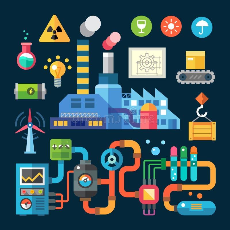 Fabriek en milieubescherming royalty-vrije illustratie
