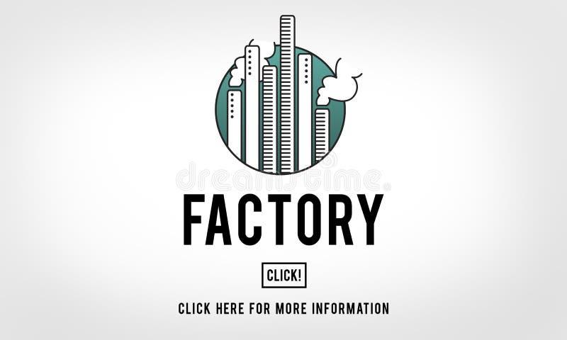 Fabriek Gebouwd Scructure-Organisatie Industrieel Concept stock illustratie