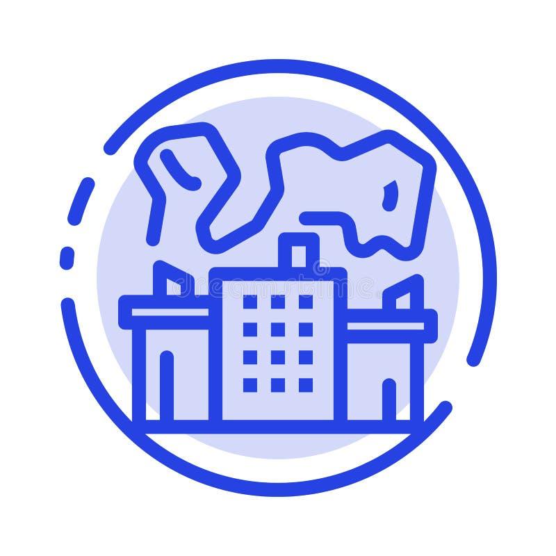 Fabriek, Industrie, Kern, de Lijnpictogram van de Machts Blauw Gestippelde Lijn stock illustratie