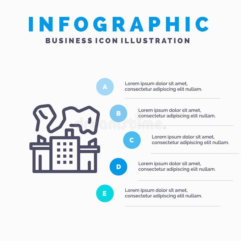 Fabriek, Industrie, Kern, het pictogram van de Machtslijn met infographicsachtergrond van de 5 stappenpresentatie stock illustratie