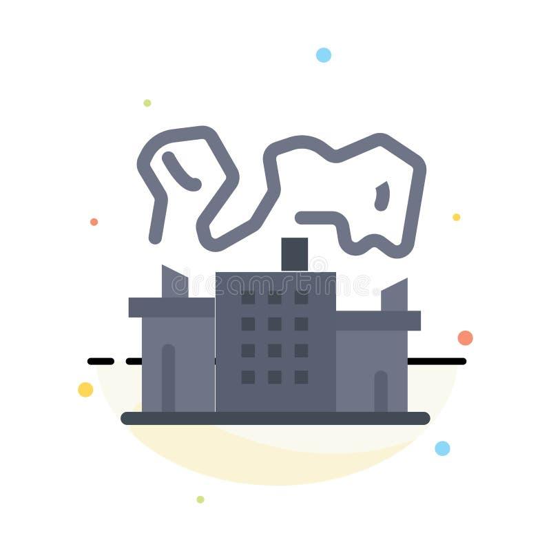 Fabriek, Industrie, Kern, het Pictogrammalplaatje van de Machts Abstract Vlak Kleur vector illustratie