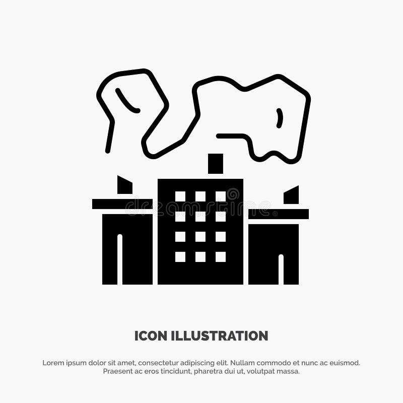 Fabriek, Industrie, Kern, het Pictogramvector van Machts stevige Glyph royalty-vrije illustratie