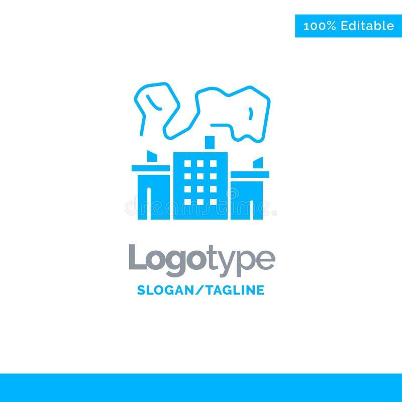 Fabriek, Industrie, Kern, Macht Blauw Stevig Logo Template Plaats voor Tagline royalty-vrije illustratie