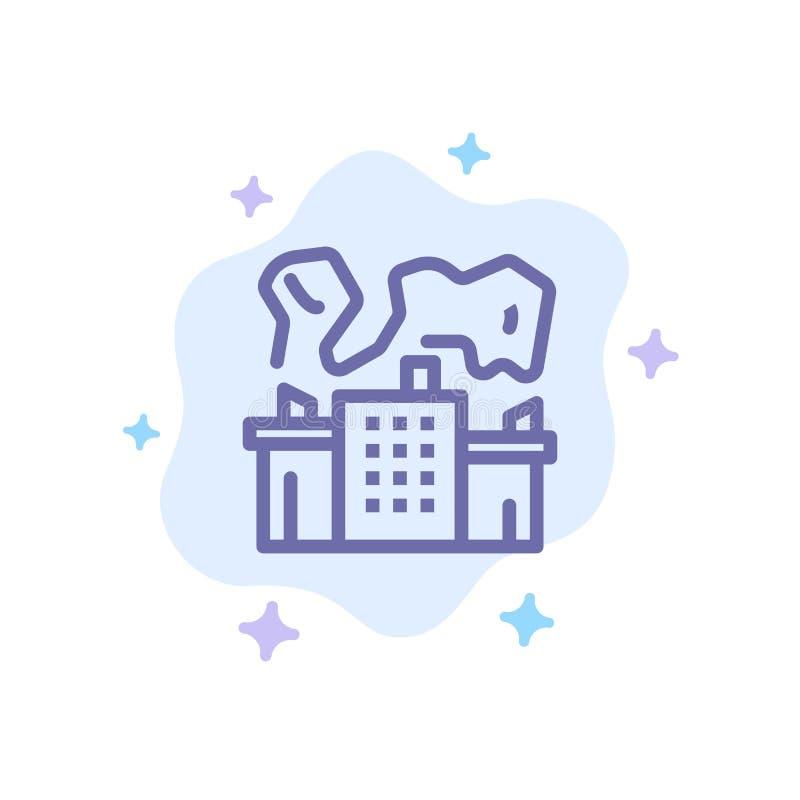 Fabriek, Industrie, Kern, Machts Blauw Pictogram op Abstracte Wolkenachtergrond vector illustratie