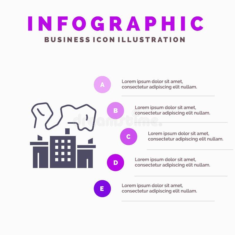 Fabriek, Industrie, Kern, Machts Stevig Pictogram Infographics 5 de Achtergrond van de Stappenpresentatie vector illustratie