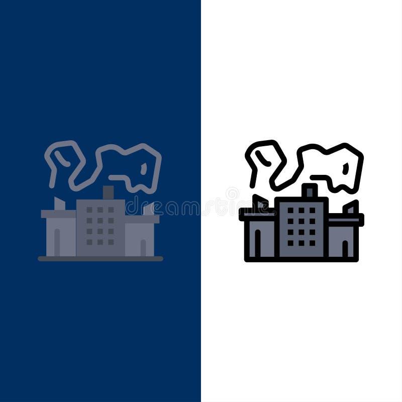 Fabriek, Industrie, Kern, Machtspictogrammen Vlak en Lijn vulde Pictogram Vastgestelde Vector Blauwe Achtergrond vector illustratie