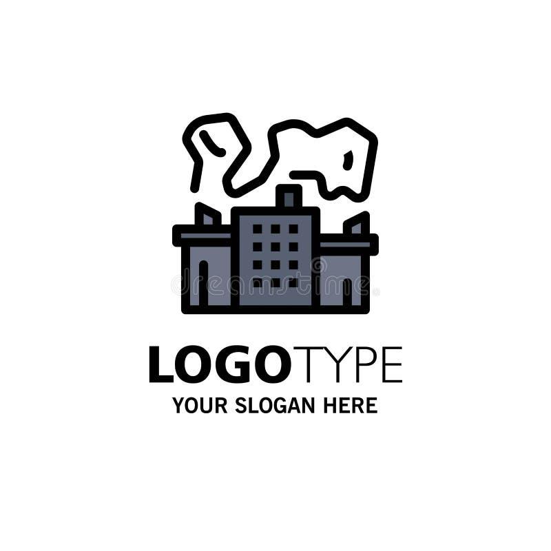 Fabriek, Industrie, Kern, Machtszaken Logo Template vlakke kleur royalty-vrije illustratie