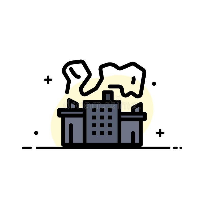Fabriek, Industrie, Kern, Malplaatje Machts van de Bedrijfs het Vlakke Lijn Gevulde Pictogram Vectorbanner stock illustratie