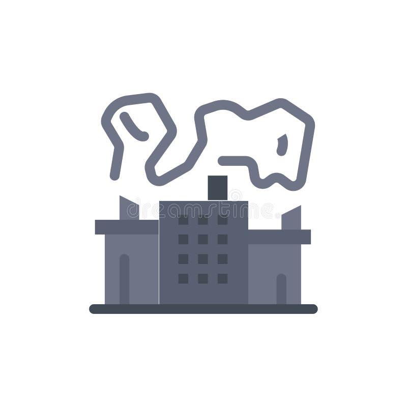 Fabriek, Industrie, Kern, Pictogram van de Machts het Vlakke Kleur Het vectormalplaatje van de pictogrambanner royalty-vrije illustratie