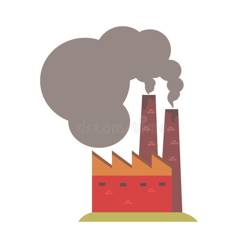 Fabriek met rokende pijpen Kleurrijke beeldverhaalillustratie royalty-vrije illustratie