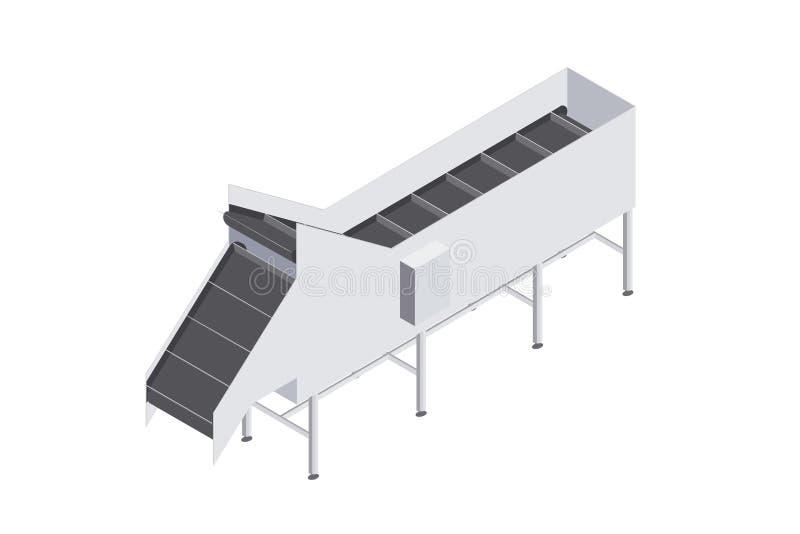 Fabriek met transportband met volumetrische capaciteit wordt geautomatiseerd die vector illustratie