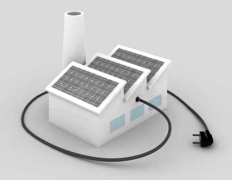 Fabriek met zonnepanelen en elektrische stop royalty-vrije illustratie