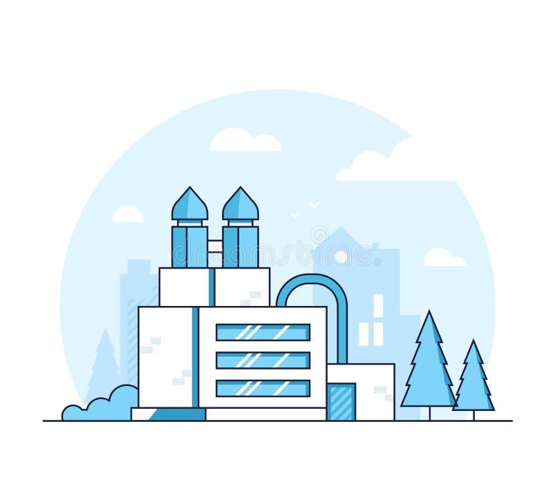 Fabriek - moderne dunne de stijl vectorillustratie van het lijnontwerp stock illustratie