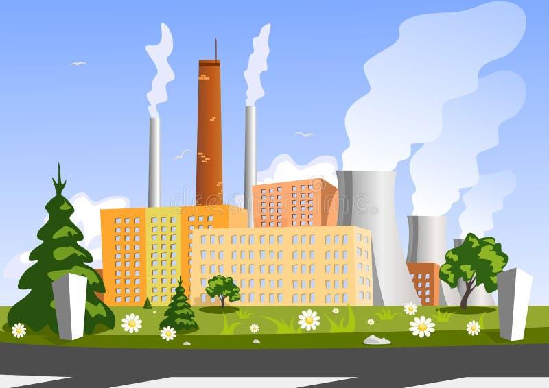 Fabriek op een groen gebied royalty-vrije illustratie