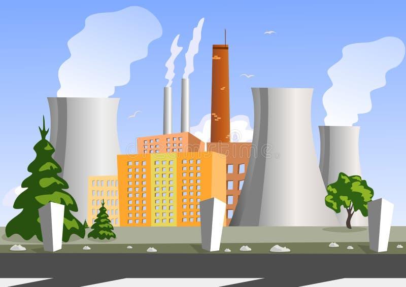 Fabriek, vectorillustratie royalty-vrije illustratie